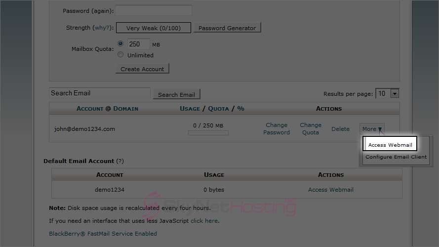 Webmail-option-for-a-selected-account