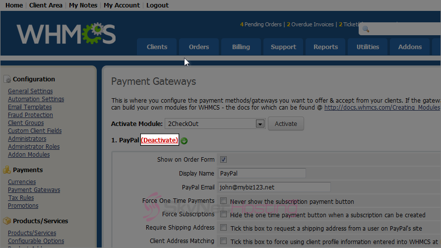click-on-the-deacivate-link-to-deactivate-payment-module-in-whmcs