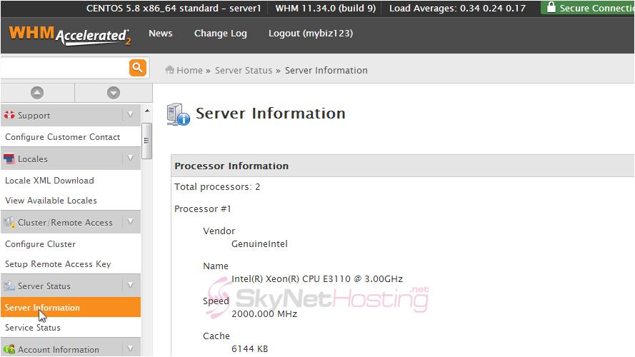 server-information-interface