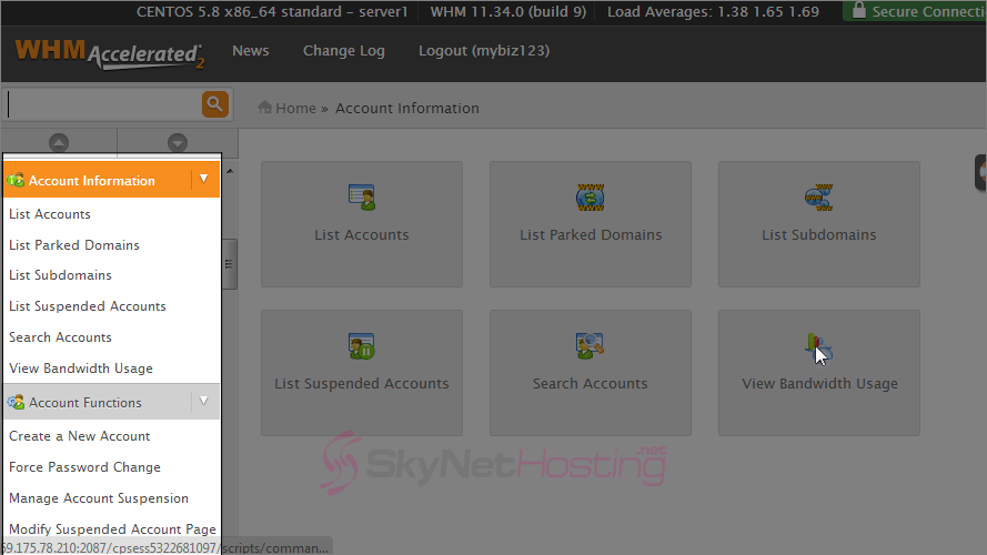web-host-manager-left-screen