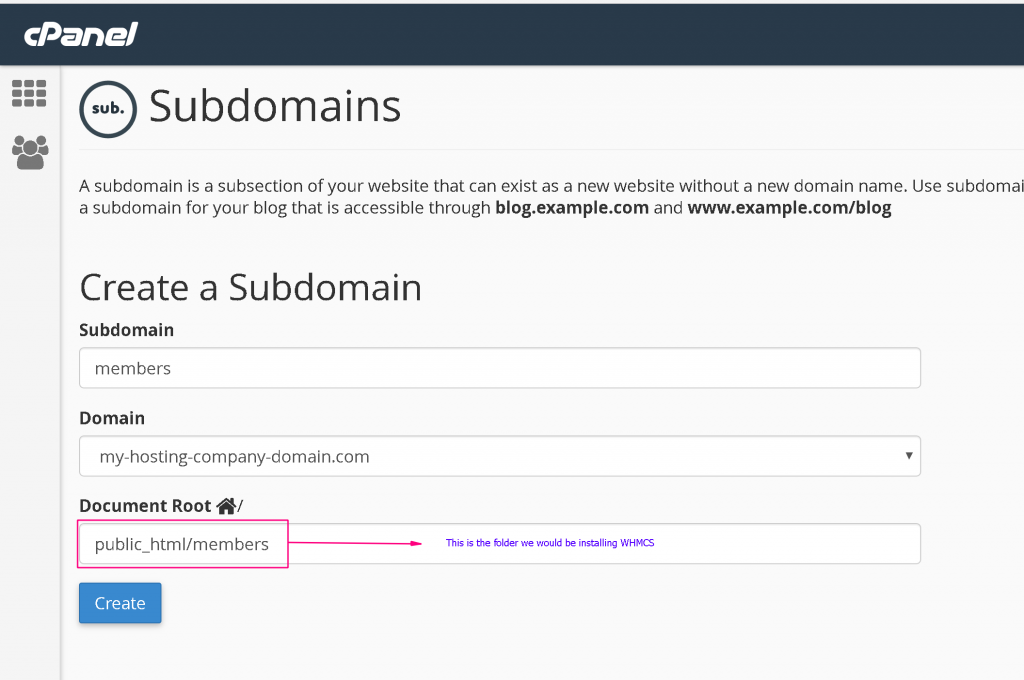 creating-subdomain-for-whmcs